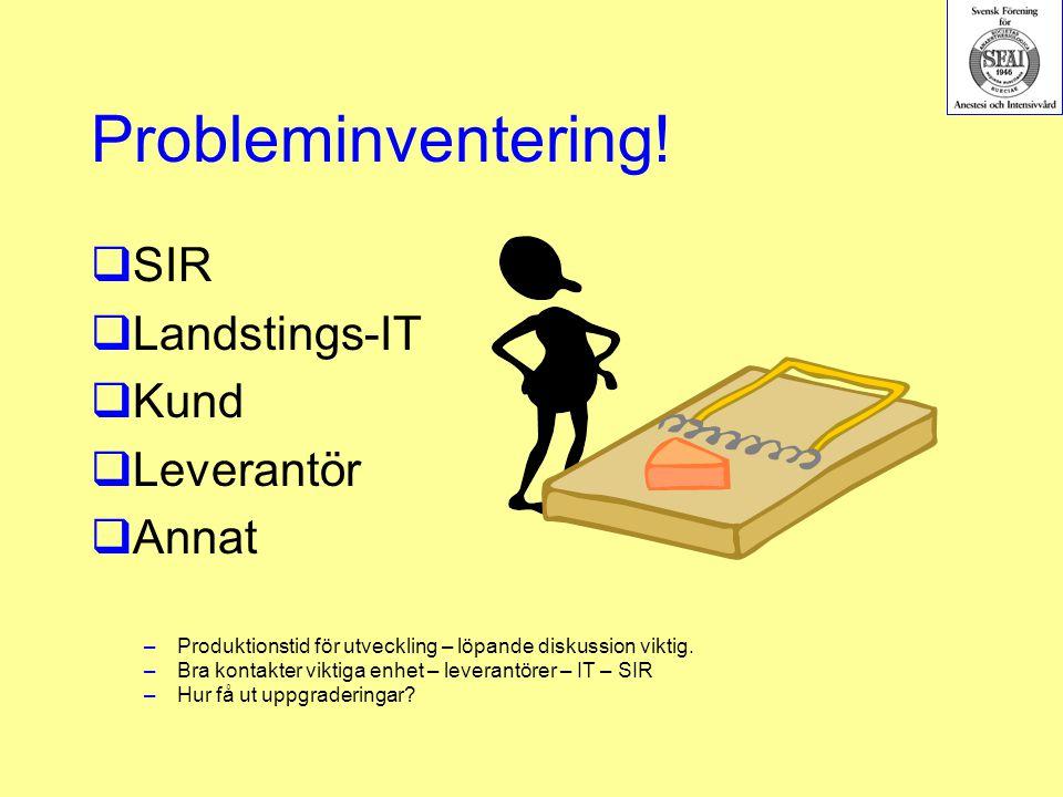 Probleminventering! SIR Landstings-IT Kund Leverantör Annat
