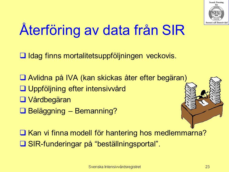 Återföring av data från SIR