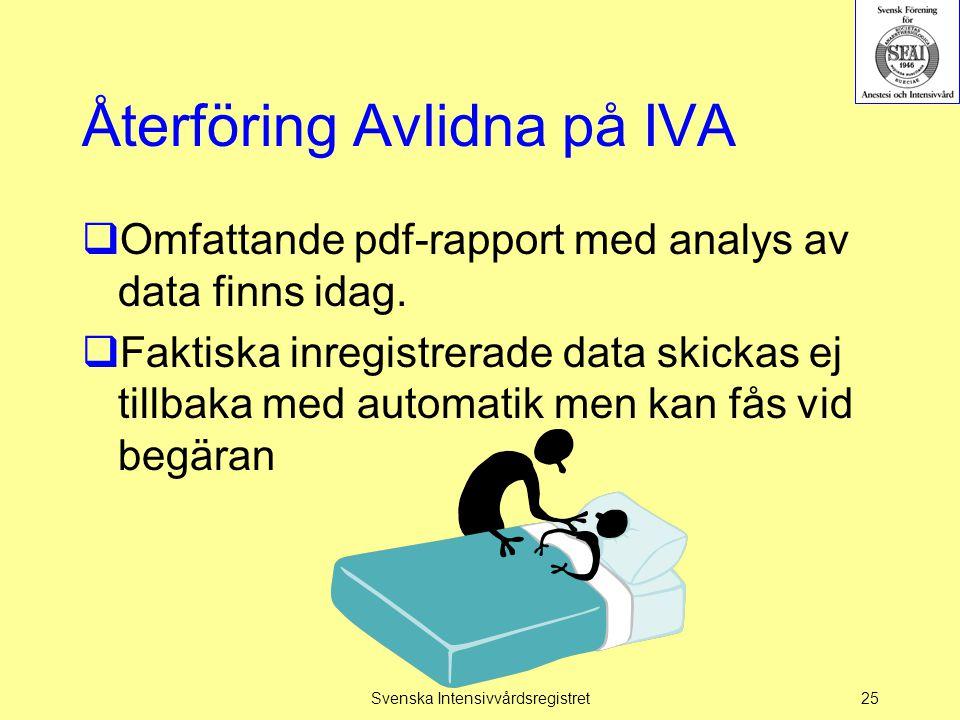 Återföring Avlidna på IVA