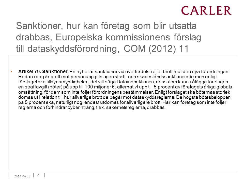 Sanktioner, hur kan företag som blir utsatta drabbas, Europeiska kommissionens förslag till dataskyddsförordning, COM (2012) 11