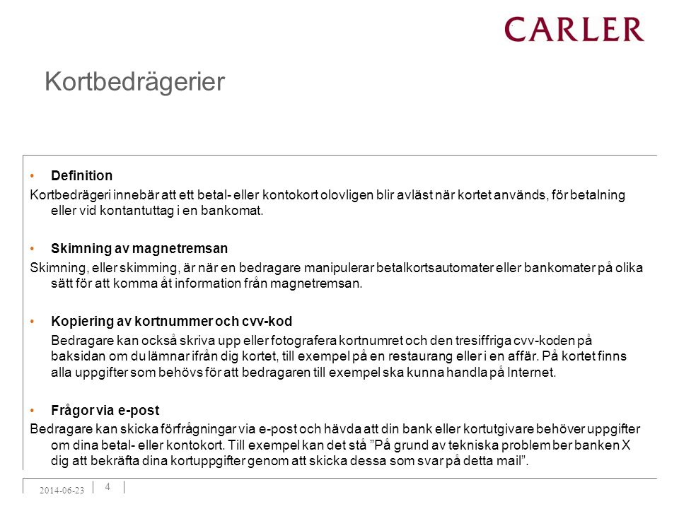 Kortbedrägerier Definition