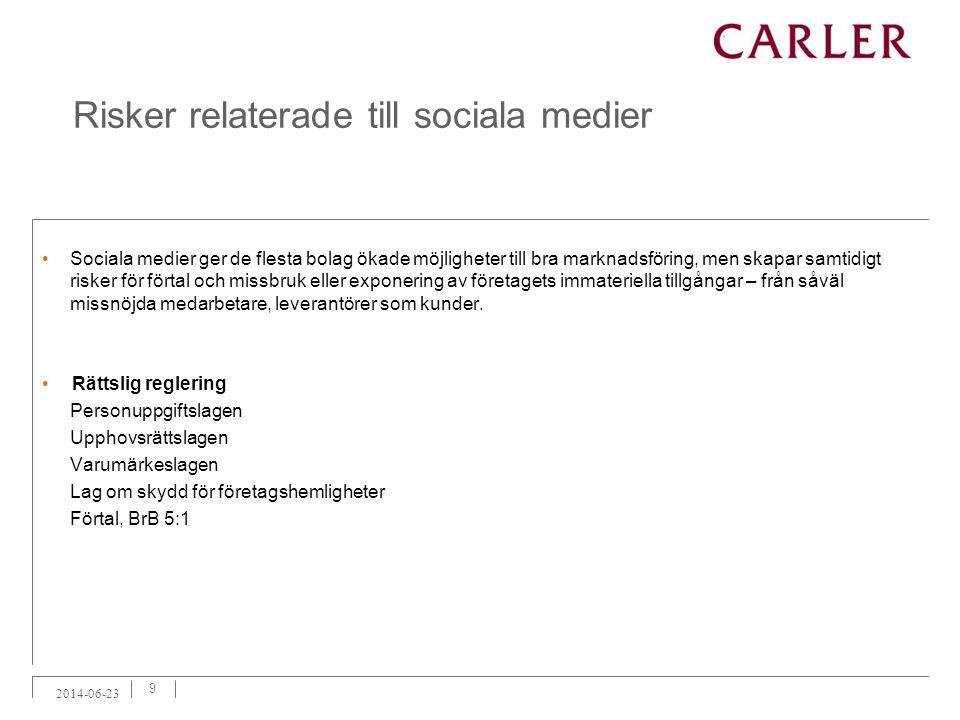 Risker relaterade till sociala medier