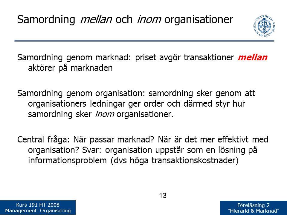 Samordning mellan och inom organisationer