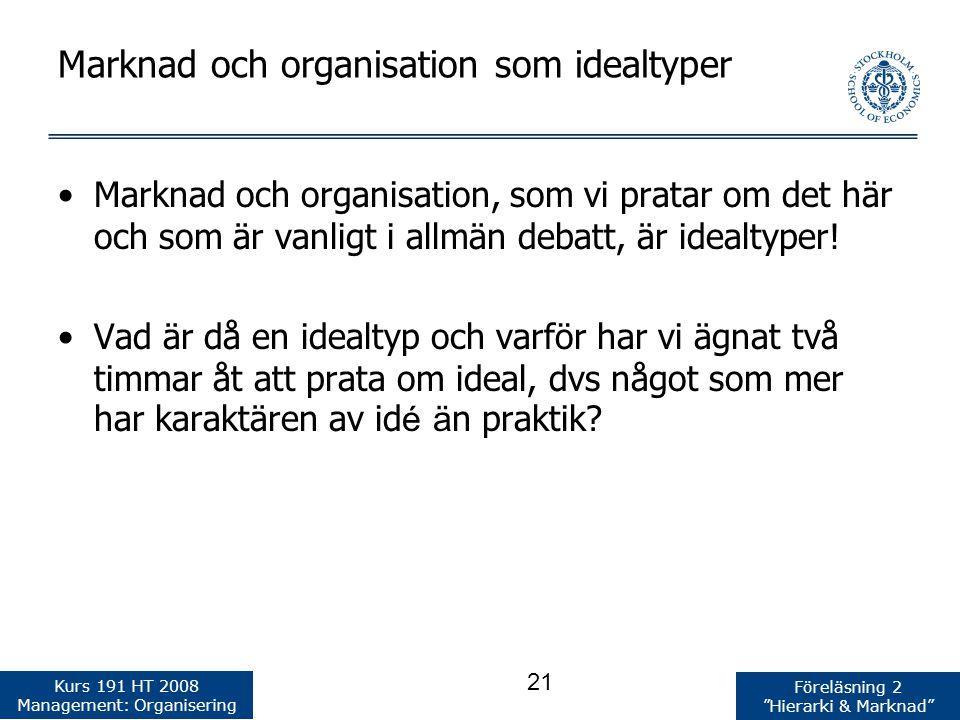 Marknad och organisation som idealtyper
