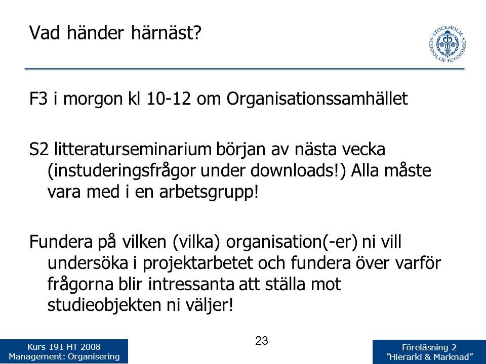 Vad händer härnäst F3 i morgon kl 10-12 om Organisationssamhället