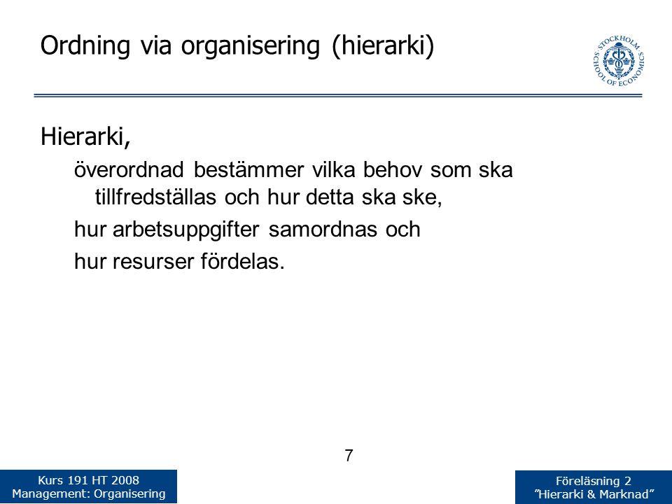 Ordning via organisering (hierarki)