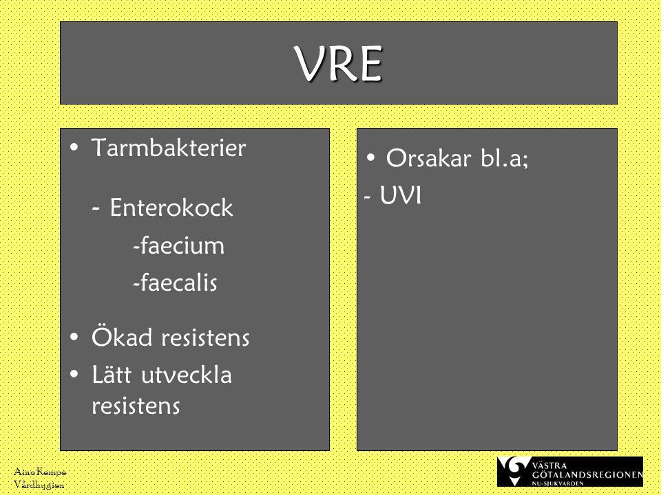 VRE - Enterokock Tarmbakterier Orsakar bl.a; UVI -faecium -faecalis