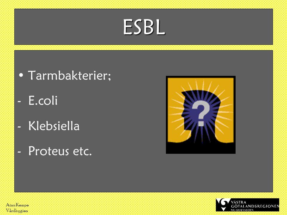 ESBL Tarmbakterier; E.coli Klebsiella Proteus etc. Aino Kempe