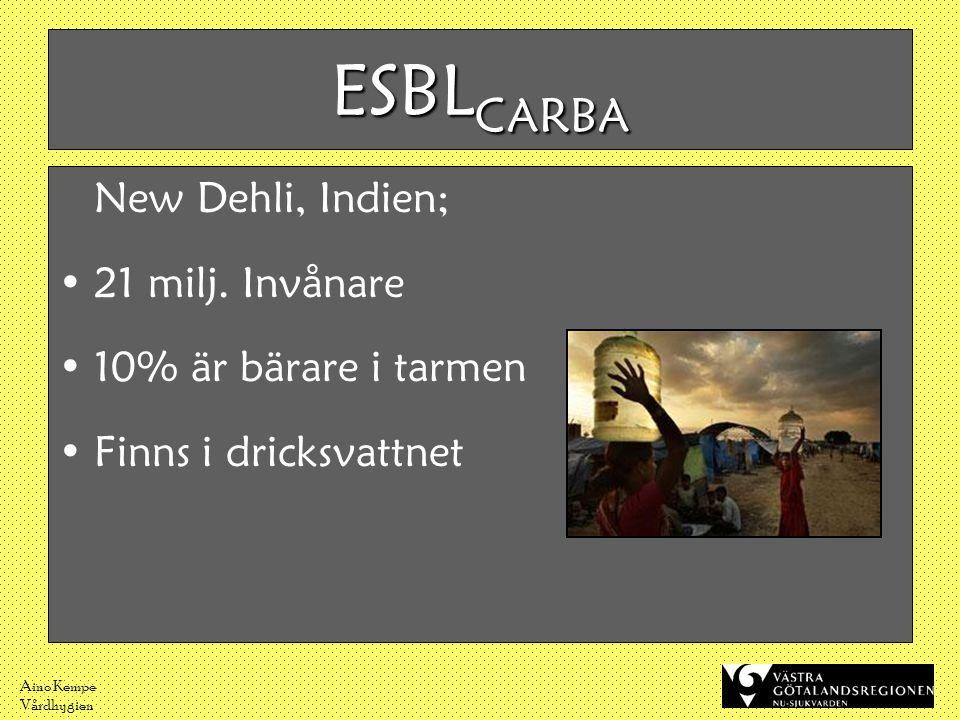 ESBLCARBA New Dehli, Indien; 21 milj. Invånare 10% är bärare i tarmen
