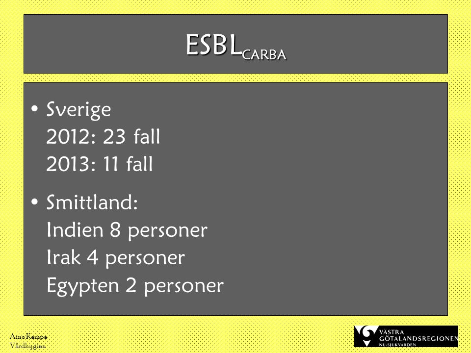 ESBLCARBA Sverige 2012: 23 fall 2013: 11 fall Smittland: