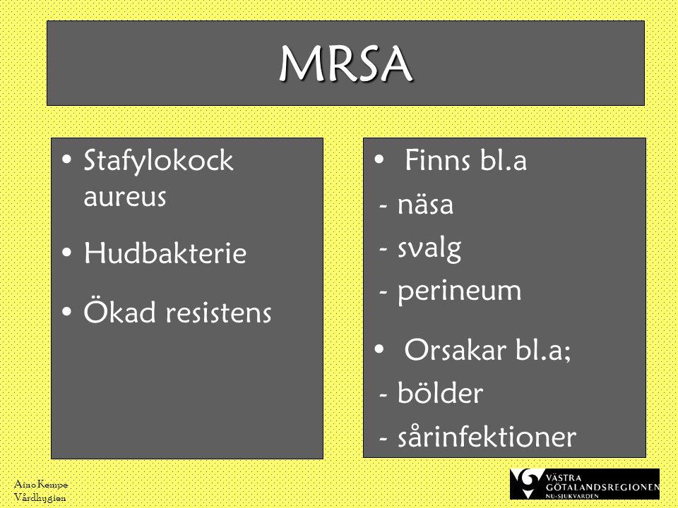 MRSA Stafylokock aureus Hudbakterie Ökad resistens Finns bl.a - näsa