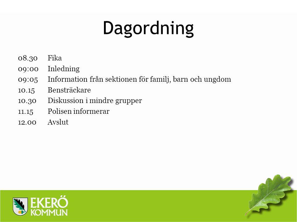 Dagordning 08.30 Fika 09:00 Inledning