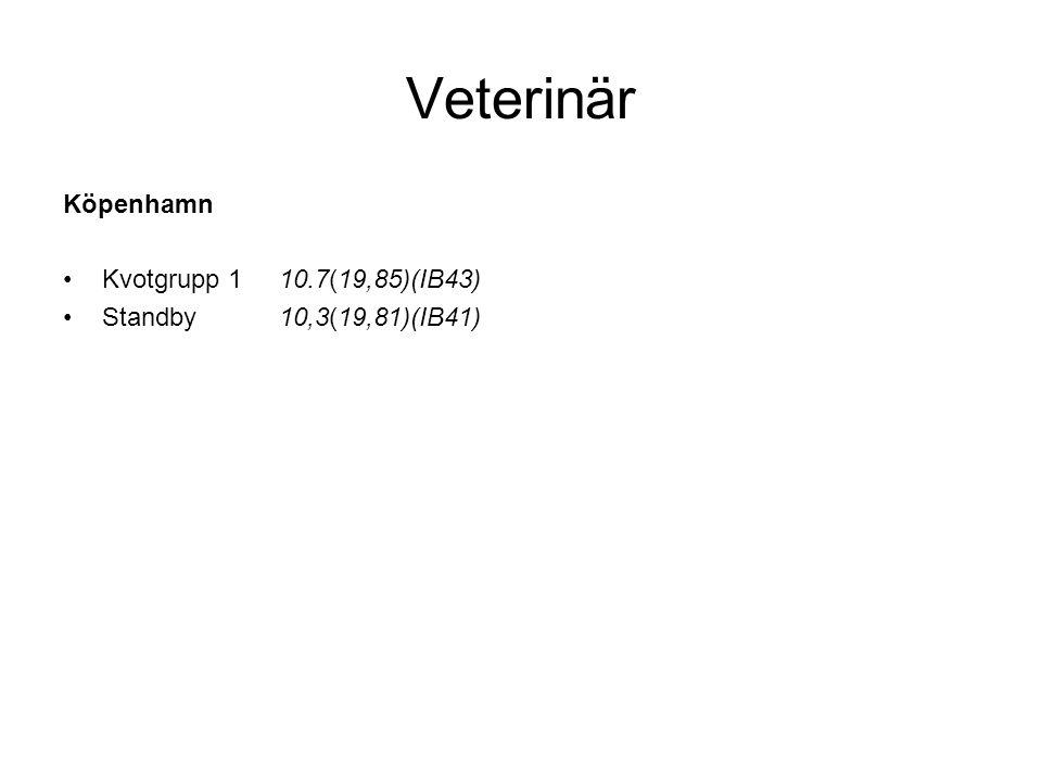 Veterinär Köpenhamn Kvotgrupp 1 10.7(19,85)(IB43)