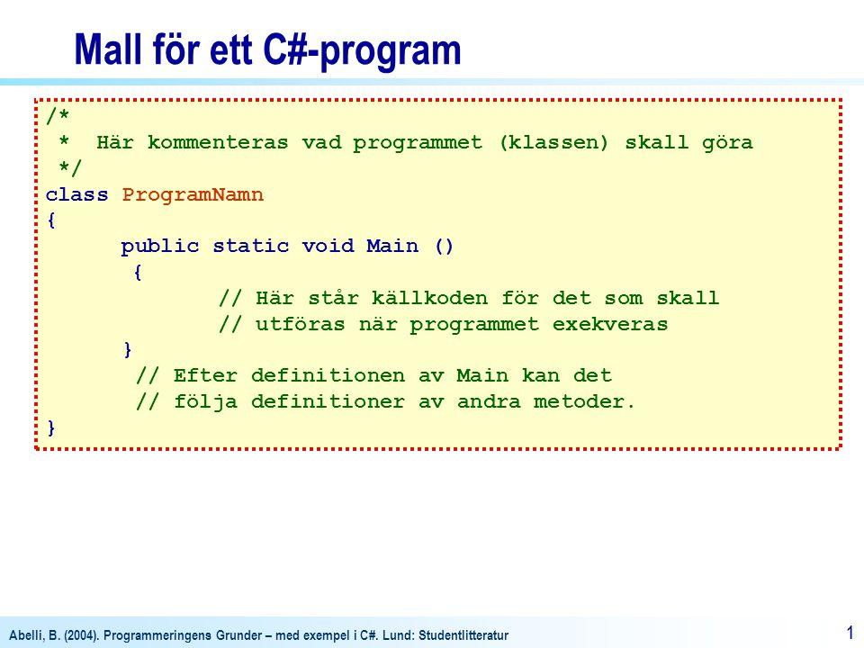 Mall för ett C#-program