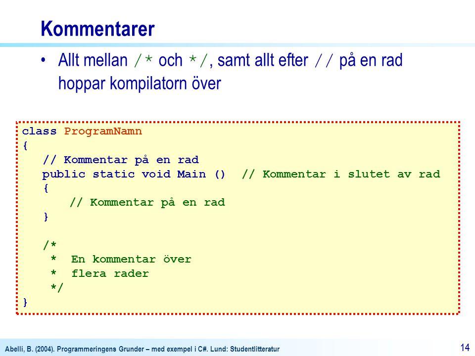 Kommentarer Allt mellan /* och */, samt allt efter // på en rad hoppar kompilatorn över. class ProgramNamn.