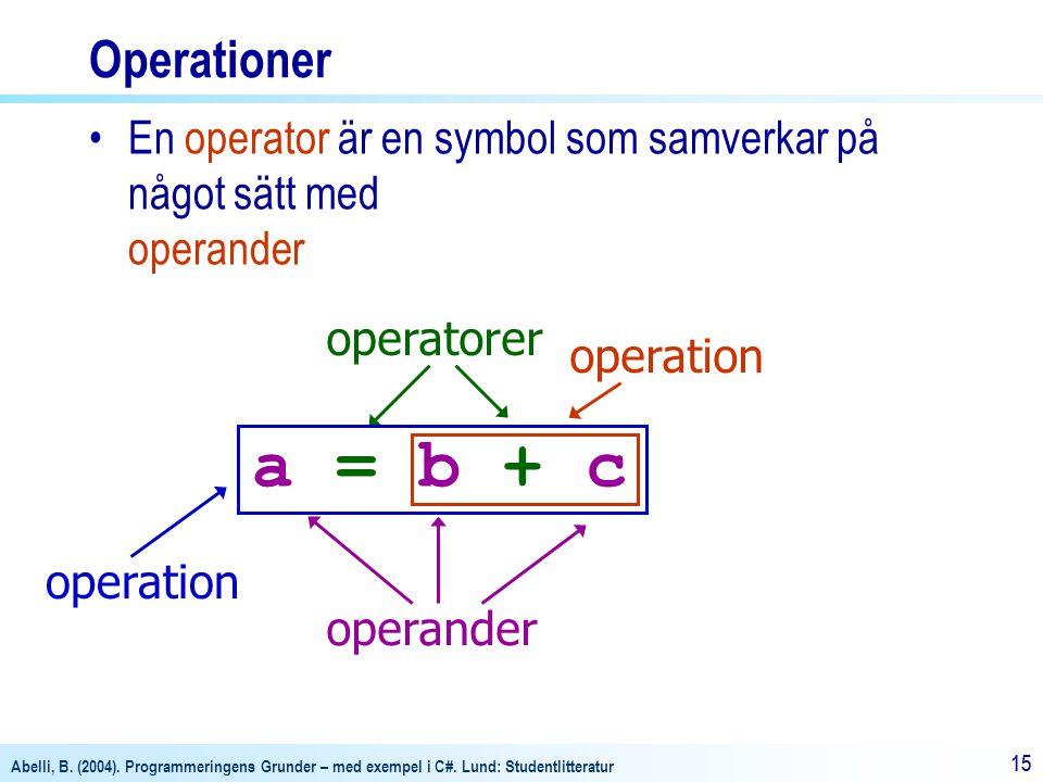 Operationer En operator är en symbol som samverkar på något sätt med operander. a = b + c. operatorer.