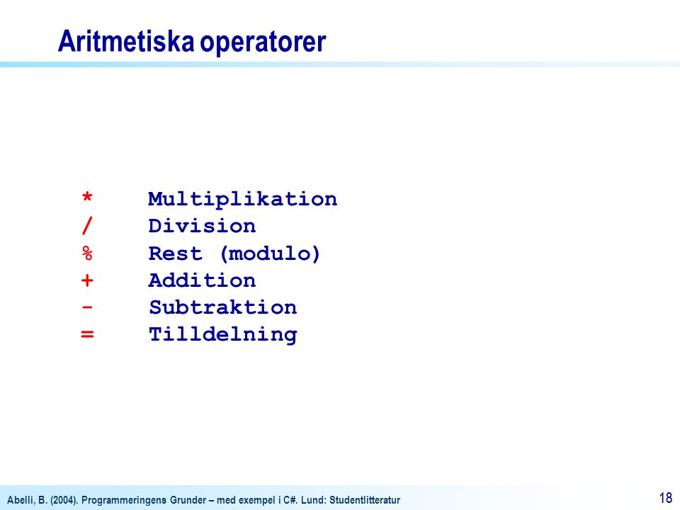 Aritmetiska operatorer