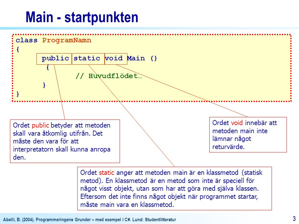 Main - startpunkten class ProgramNamn { public static void Main ()
