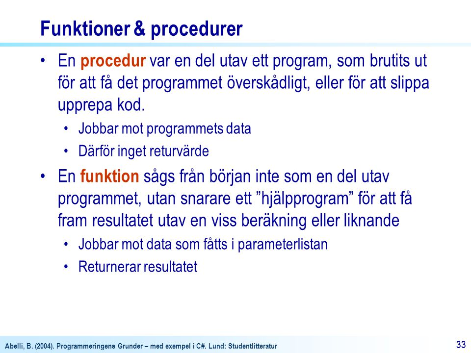 Funktioner & procedurer