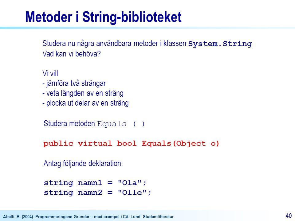 Metoder i String-biblioteket