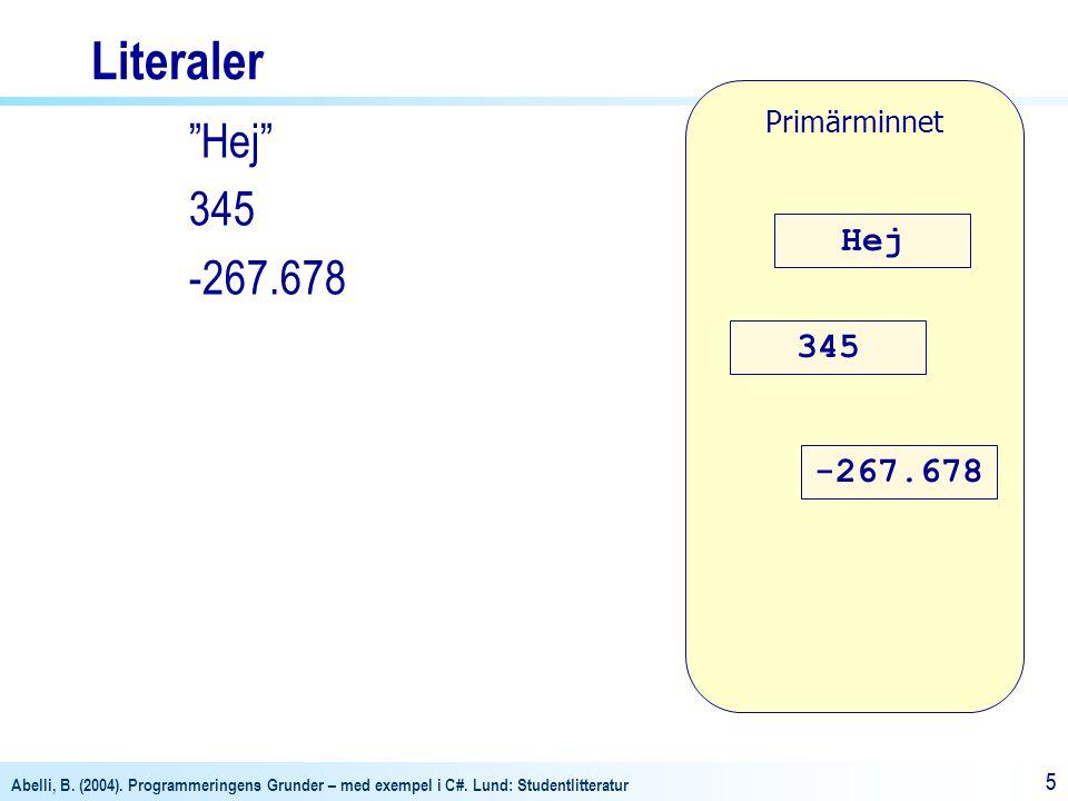 Literaler Primärminnet Hej 345 -267.678 Hej 345 -267.678