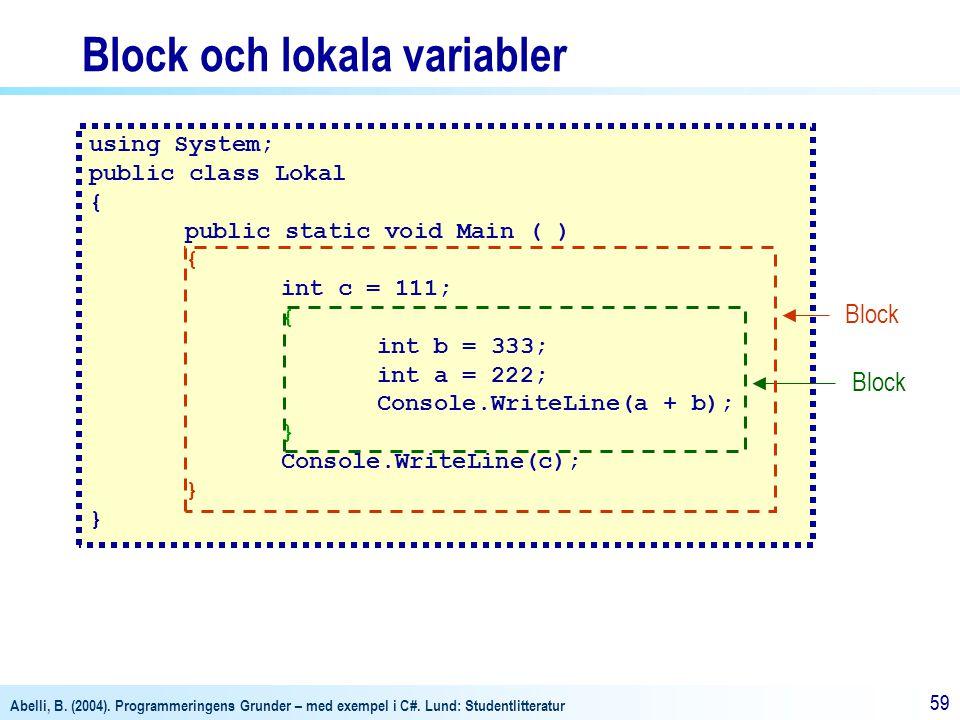 Block och lokala variabler