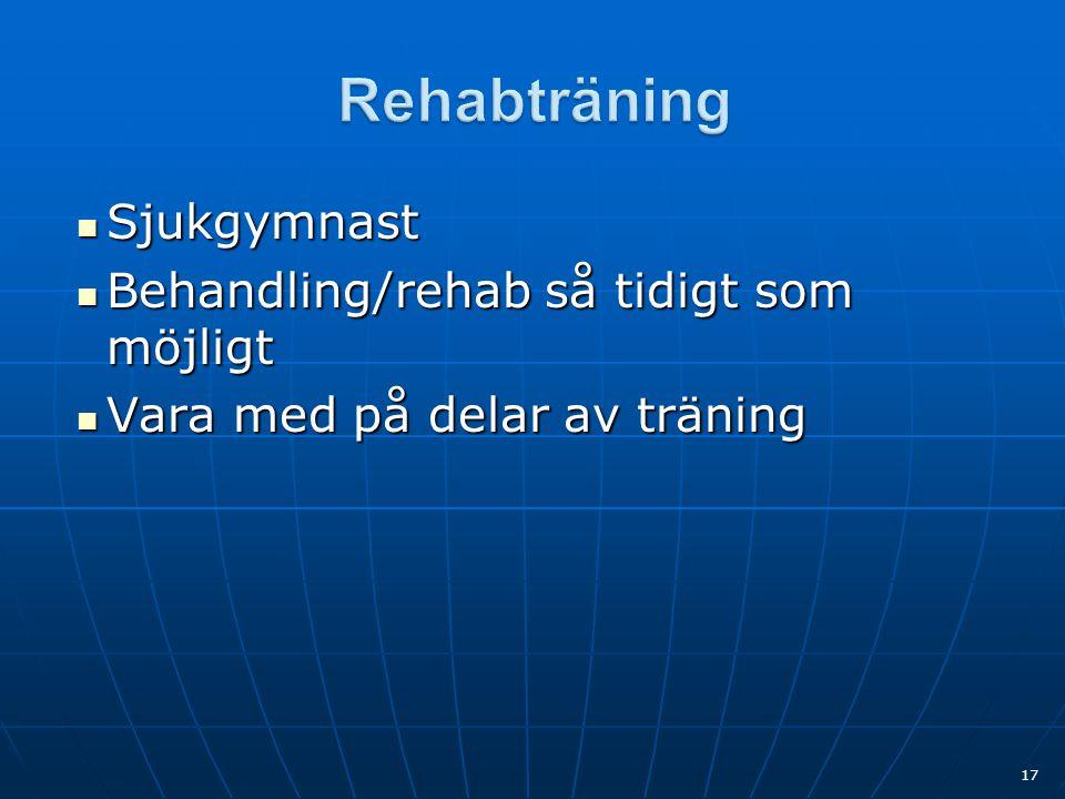 Rehabträning Sjukgymnast Behandling/rehab så tidigt som möjligt