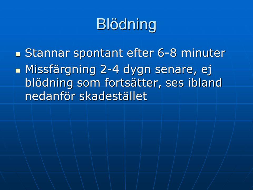 Blödning Stannar spontant efter 6-8 minuter