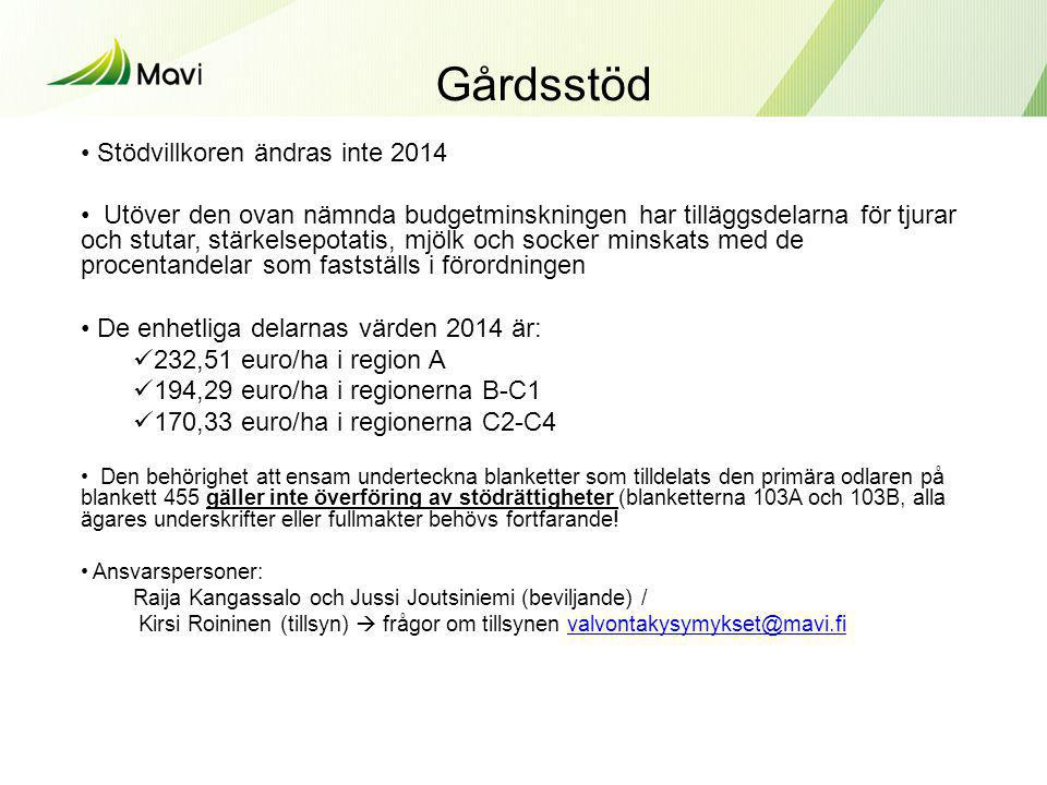 Gårdsstöd Stödvillkoren ändras inte 2014