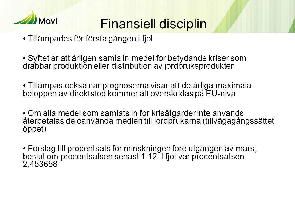 Finansiell disciplin Tillämpades för första gången i fjol
