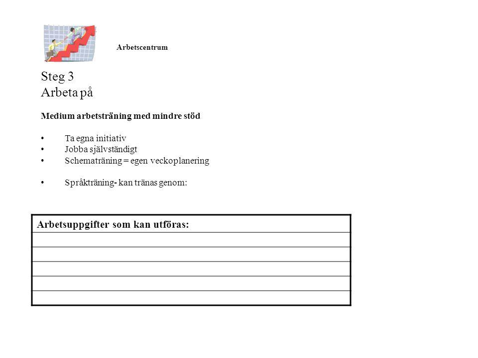 Steg 3 Arbeta på Arbetsuppgifter som kan utföras: