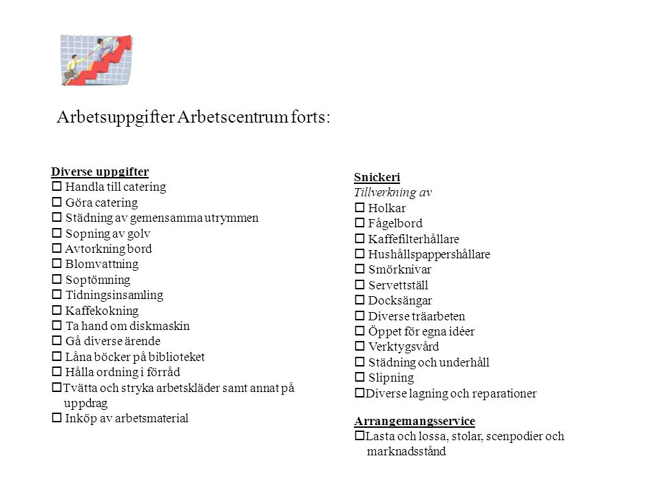 Arbetsuppgifter Arbetscentrum forts: