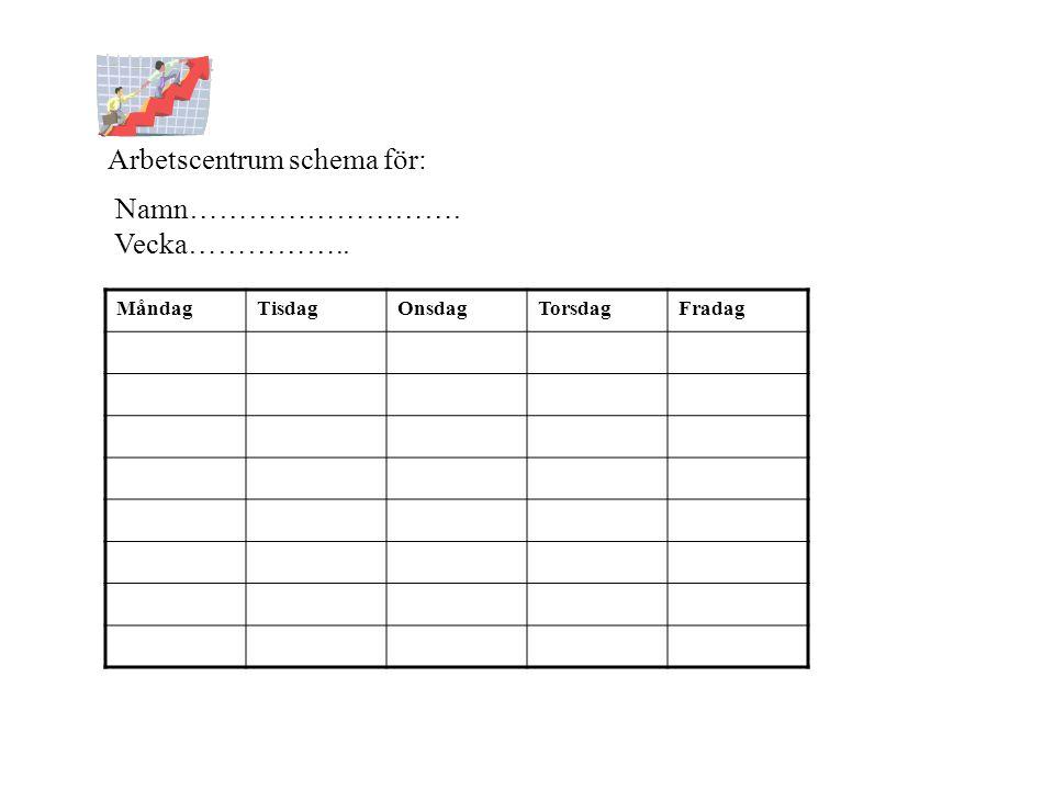 Arbetscentrum schema för: