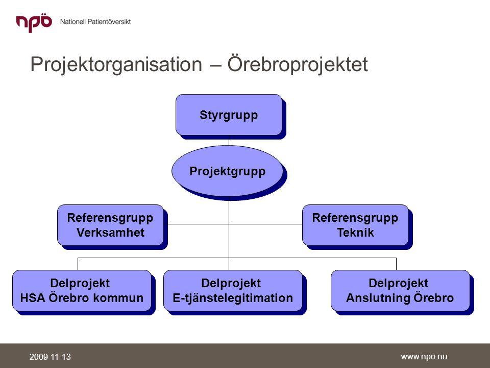 Projektorganisation – Örebroprojektet