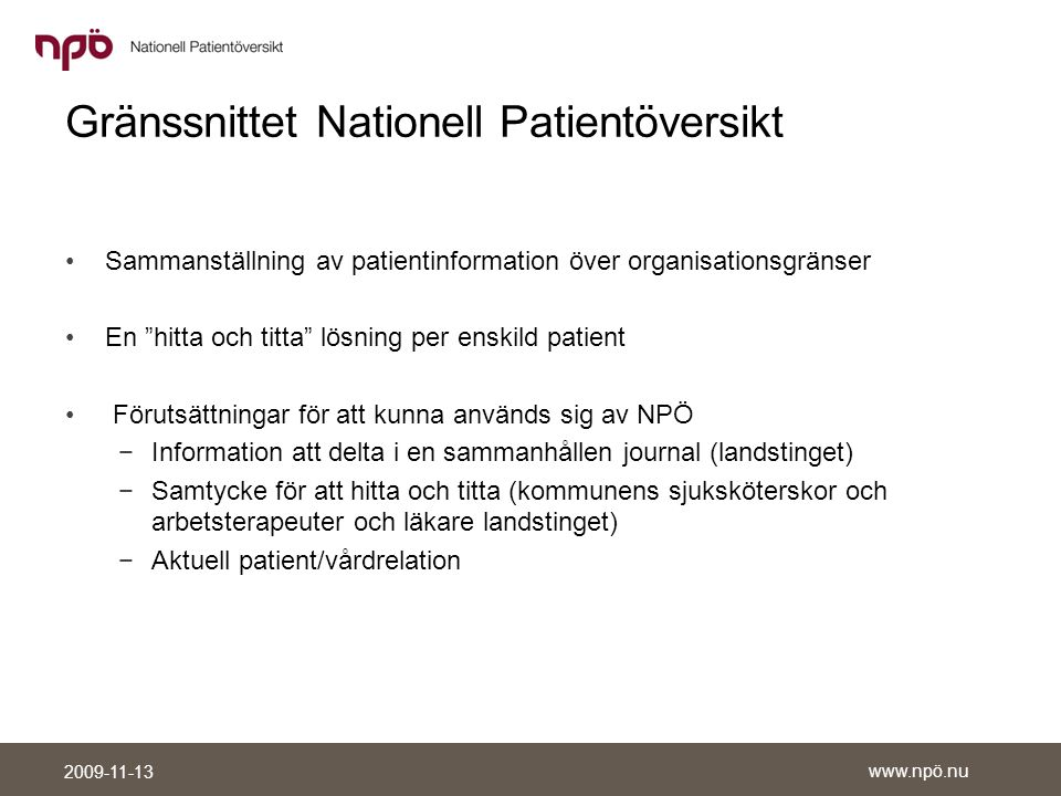 Gränssnittet Nationell Patientöversikt