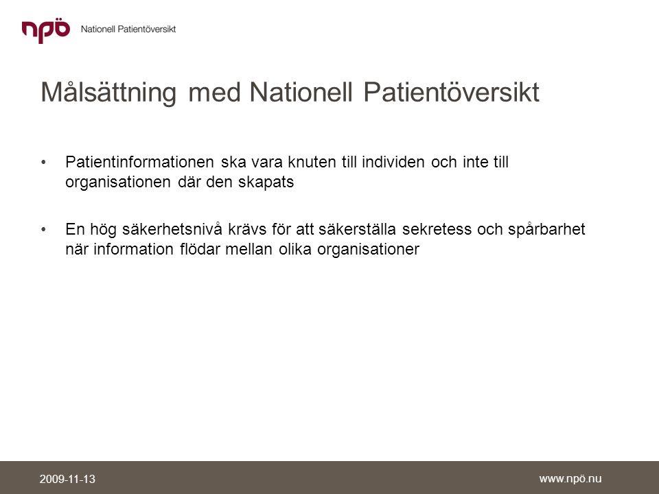 Målsättning med Nationell Patientöversikt