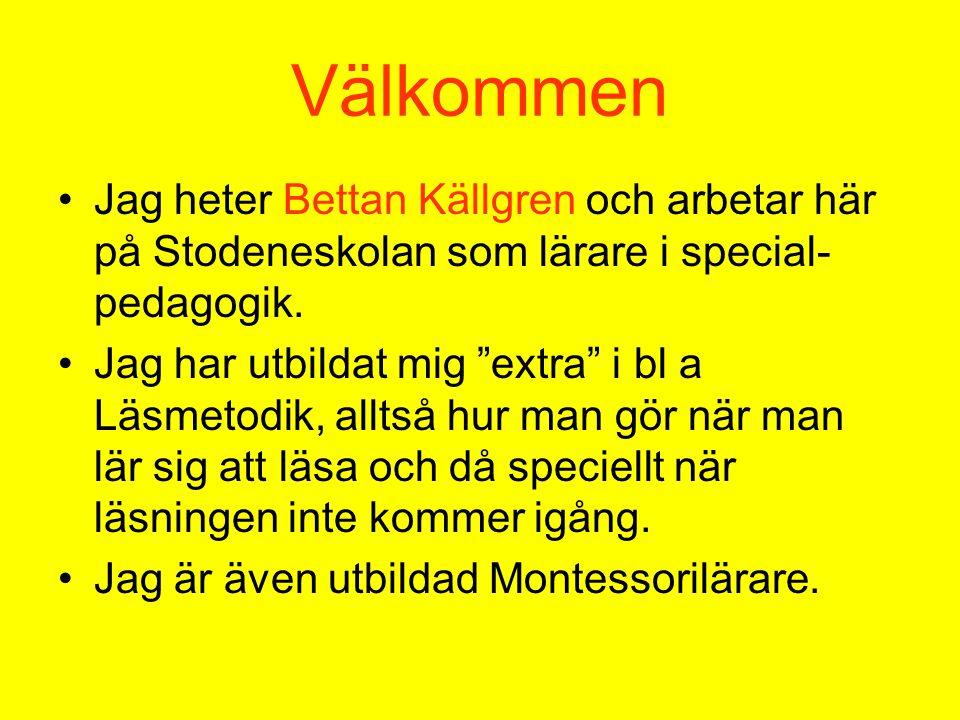 Välkommen Jag heter Bettan Källgren och arbetar här på Stodeneskolan som lärare i special-pedagogik.