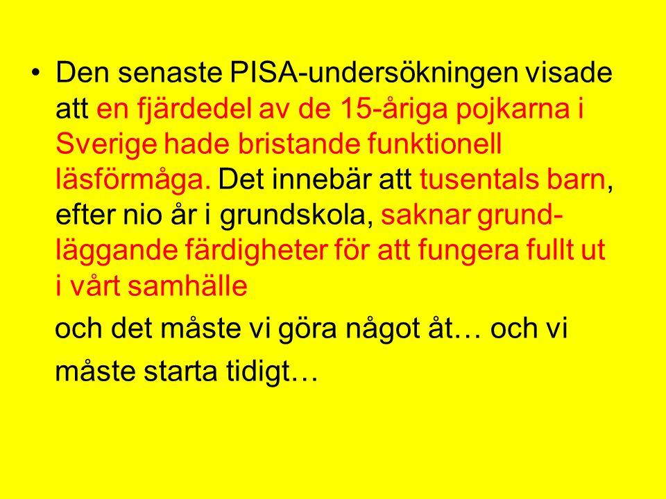 Den senaste PISA-undersökningen visade att en fjärdedel av de 15-åriga pojkarna i Sverige hade bristande funktionell läsförmåga. Det innebär att tusentals barn, efter nio år i grundskola, saknar grund-läggande färdigheter för att fungera fullt ut i vårt samhälle