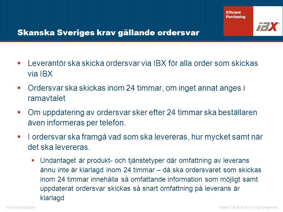 Skanska Sveriges krav gällande ordersvar