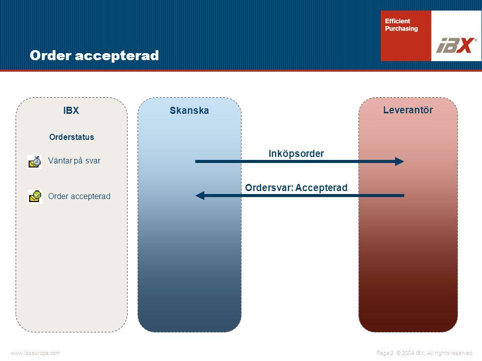 Ordersvar: Accepterad