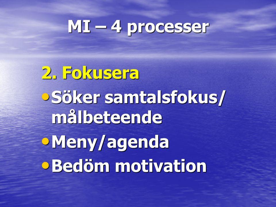 MI – 4 processer 2. Fokusera Söker samtalsfokus/ målbeteende Meny/agenda Bedöm motivation