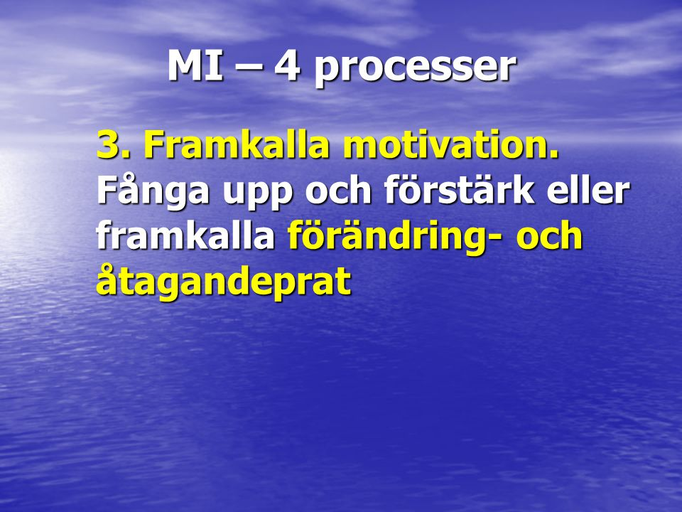 MI – 4 processer 3. Framkalla motivation.