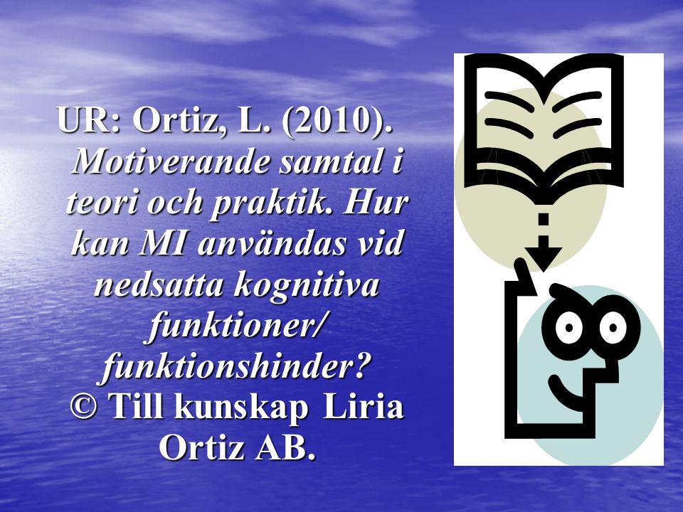 UR: Ortiz, L. (2010). Motiverande samtal i teori och praktik