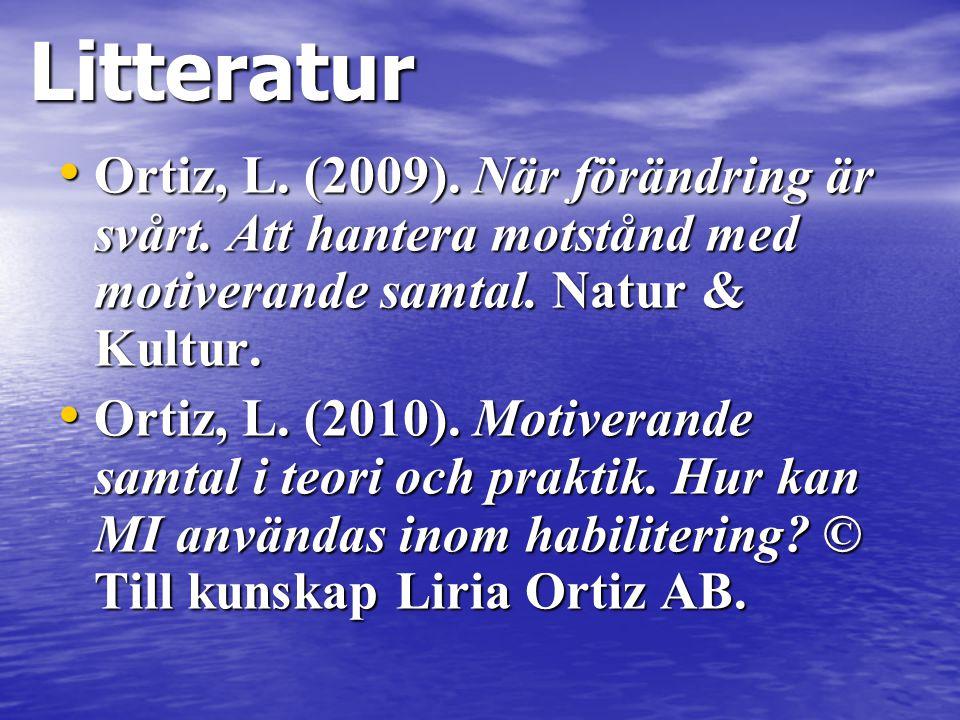 Litteratur Ortiz, L. (2009). När förändring är svårt. Att hantera motstånd med motiverande samtal. Natur & Kultur.