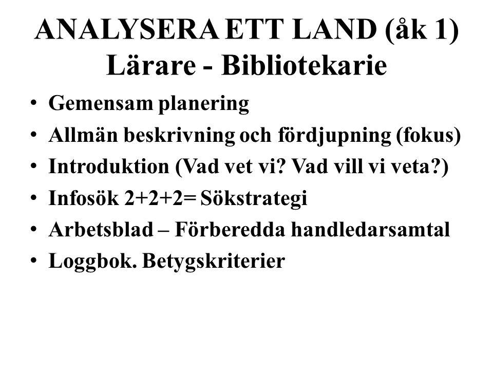 ANALYSERA ETT LAND (åk 1) Lärare - Bibliotekarie