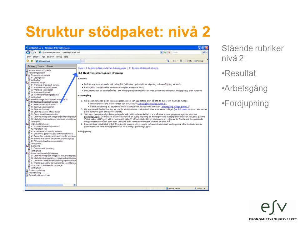 Struktur stödpaket: nivå 2