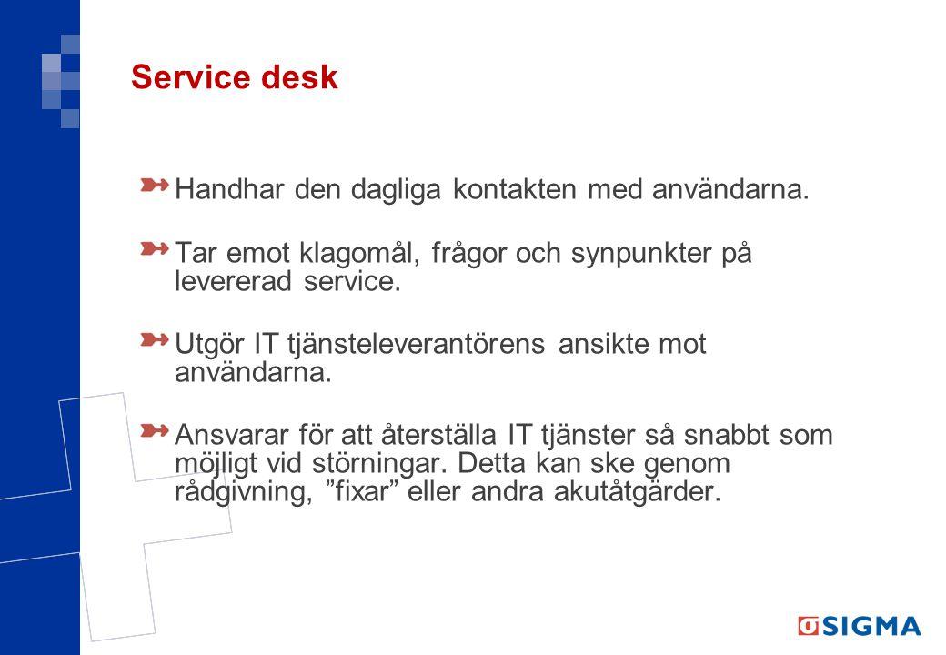 Service desk Handhar den dagliga kontakten med användarna.