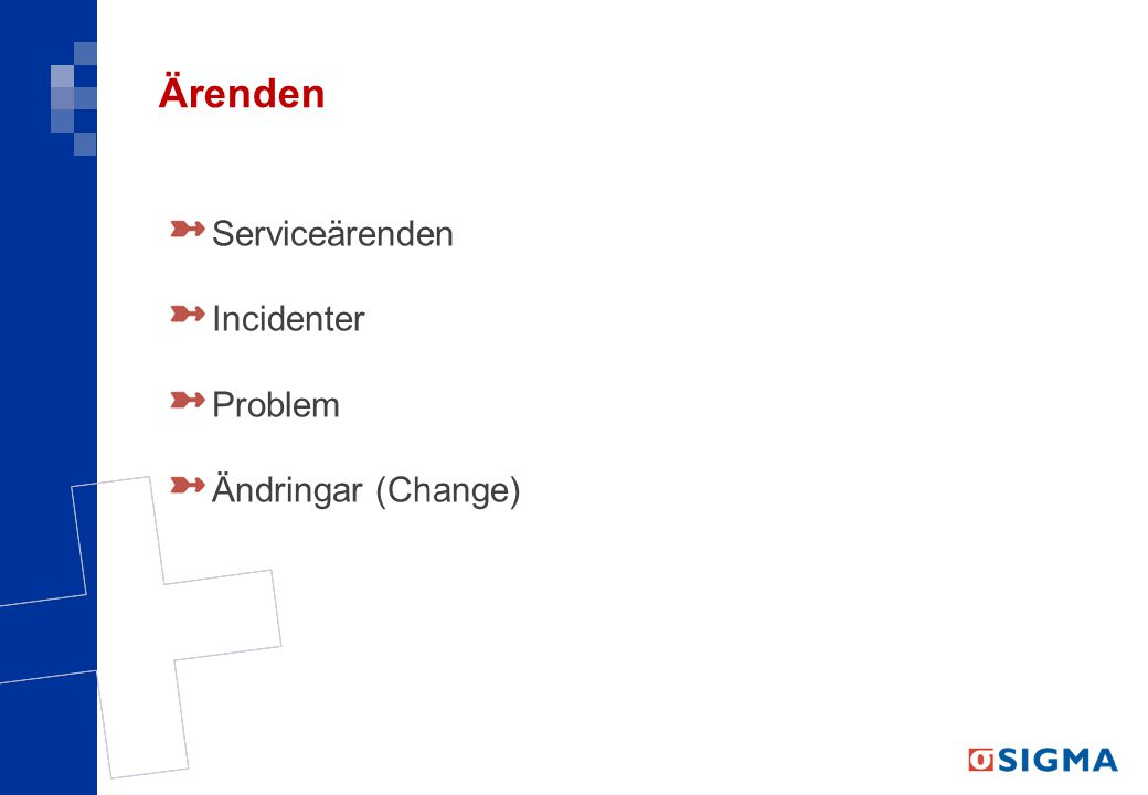 Ärenden Serviceärenden Incidenter Problem Ändringar (Change)