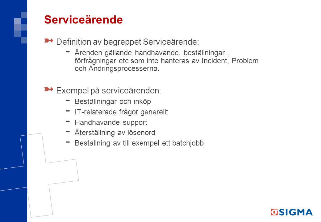 Serviceärende Definition av begreppet Serviceärende:
