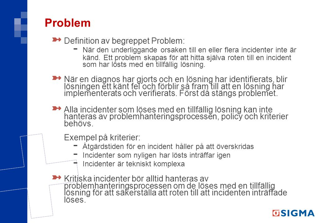 Problem Definition av begreppet Problem:
